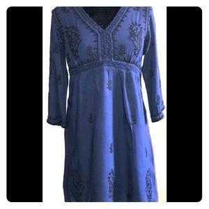ZARA WOMAN BLUE EMBROIDERED DRESS XS